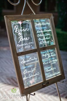 This couple got creative and used a glass window to write their program  on here at Villa Siena! #villasiena #villasienawedding #weddingaz #program #creative #window #glass #writing
