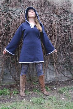 Elven tunic for women Medieval tunic SCA Pixie hoodie by tatoke, $85.00