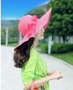 8c70c840862 Watermelon Red Fashion Women Bow Large Brim Summer Beach Straw Sun Hat