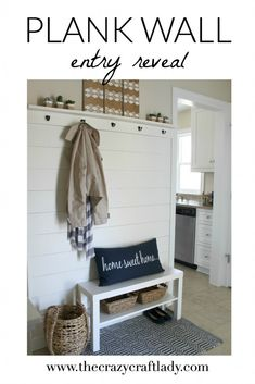 Plank Wall Entry Reveal – Do you love the plank wall trend, but don't know where to start?  Follow this link to a complete tutorial for installing a plank wall along with a shelf and hooks.  Create a bright, stylish, and organized entry no matter how small the space.
