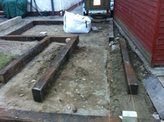 Patio extension: preping railway sleepers for edging/border.