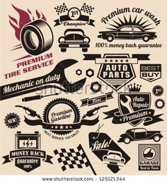 Vector set of vintage car symbols. Car service and car sale retro labels and icons. Vintage collection of car related signs and symbols with...
