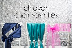 Three simple Chiavari chair sash tie tutorials: the Side-Swept Bow, the Satin Cinch and the Woven Bow.   Smarty Had A Party