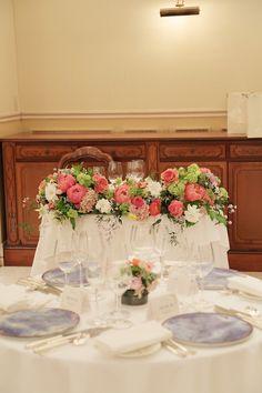 芍薬の装花 リストランテASO様へ コーラルピンクと白とグリーンで 初夏の画像:一会 ウエディングの花