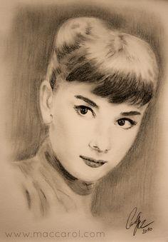 Pencil drawing, Bleistift Zeichnung, Portrait -Audrey Hepburn