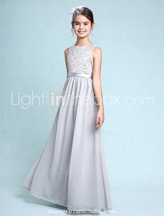 Lanting Bride® Floor-length Chiffon / Lace Junior Bridesmaid Dress Sheath / Column Bateau with Lace 2016 - $79.99