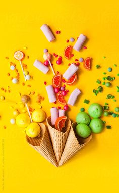 Fruit photography, still life photography, product photography, yellow background, ice cream background Candy Photography, Creative Photography, Product Photography, Life Photography, Instagram Png, Instagram Story, Photo Food, Candy Labels, Prop Styling
