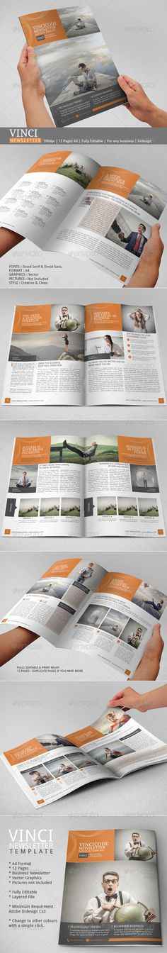 Business Newsletter of Indesign Template for you to use in your company marketing. This is a premium newsletter designed with a concept of renowned artist movement. It is print ready and fully editable. You can use this as business report or company brochure profile. It is a print design template and can be exported to pdf to be sent by email too. Check out this 12 pages newsletter.