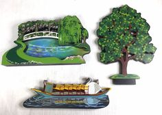 3 Sheilas Collections Shelf Ledge Sitters Boston Swan Boat Reflecting Pond Tree #SheilasTheCatsMeow