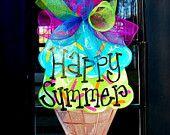 La suspensión de puerta de verano: helado cono puerta suspensión, decoración de la puerta, verano guirnalda