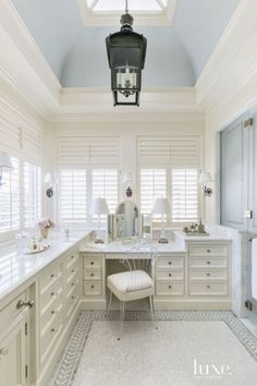 Traditional Blue Bathroom with Lantern