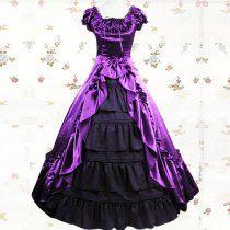 Black And Purple Cuff Sleeves Ruffled Multi-layer Satin Lace Cla