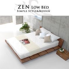 casa-hils: Floor bed low Bet North Europe bed frame double Bet woodenness bed Bet frame floor bed only as for double bed double size ZEN low bed frame with . a lot of mattress Futon Bed Frames, Low Bed Frame, Woodland Crib Bedding, Rustic Bedding, Chic Bedding, Zen Bed, Kids Beds With Storage, Cool Bunk Beds, Bedding Master Bedroom