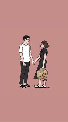 Cute Couple Drawings, Cute Couple Cartoon, Cute Couple Art, Cute Drawings, Couple Illustration, Character Illustration, Illustration Art, Cute Couple Wallpaper, Zeina