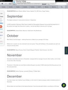 Website relating weird facts to your birth month http://uber-facts.com/2012/12/11/the-month-your-born-in-affects-your-life-experience/