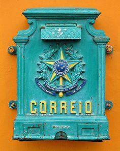 Post box, Curitiba, Paraná, Brazil by Ric e Ette Old Mailbox, Vintage Mailbox, Antique Mailbox, Turquoise, Aqua, Teal, Post Bus, You've Got Mail, Going Postal