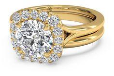 $1390 Ritani French set Round Diamond Halo Ring - Yellow gold