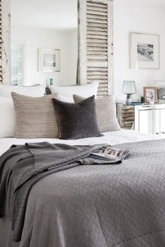 Bedroom Inspiration | Pebbles | Grey | Grey Bedding | Design | Interior Design | Shutters | Scandi Bedroom | Bedroom |
