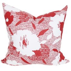 Graphic red and white floral pillow by www.tonicliving.com - we ship everywhere.