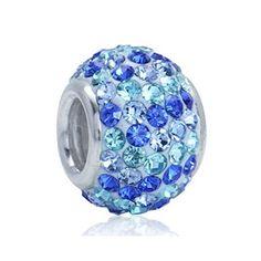 צ'ארמס כסף המשובץ באבני קריסטל בגווני כחול ותכלת