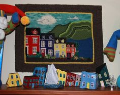 painting houses on rocks - Google Search Rug Hooking Designs, House Painting, Rock Painting, House On The Rock, Fishing Villages, Miniature Houses, Newfoundland, Jelly Beans, Rock Art