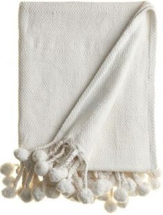 White Cotton Pom Pom Throw Blanket