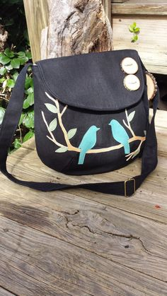 Tweeting Blue Birds on a Limb Tote /purse / 7 large by LBArtworks