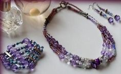 """""""Romantic In Violet"""" Three Strand Glass Necklace"""