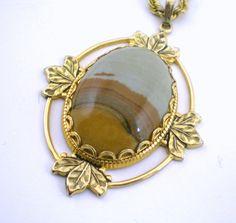 Earth  Tone Jasper Gemstone Pendant Necklace Vintage by paleorama,