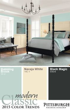 Modern Classic 2015 Paint Color Trend: Blending Soft Neutrals with Clean Colors. In a minimalist style, the Modern Classic Trend captures a desire for a peaceful, calm world. The Modern Classic paint color palette is grounded with a true black shade, but is warm and inviting with a light Tiffany blue and smooth gray. Add sophistication with tones of creams and whites.