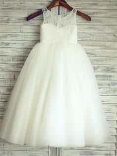 Princess Floor-length Flower Girl Dress - Lace / Satin / Tulle Sleeveless Scoop with - USD $79.99