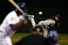 WORLD SERIES GAME 2 - The Mets' Jacob deGrom deals during the first inning of Game 2 of the World Series against the Kansas City Royals at Kauffman Stadium on Oct. 28, 2015. (Photo by David Goldman - Pool/Getty Images)