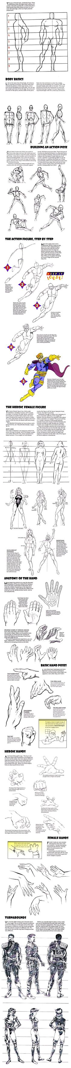 How to Draw the Human Body - Tutorial: Dynamic Heroic Character Design for Comic / Manga Character Reference by ernestine