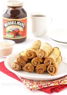 Make breakfast exciting with Apple Butter French Toast Roll Ups with Apple Butter Cream Cheese Dipping Sauce. Stuffed with @MussAppleButter then tossed in cinnamon sugar.