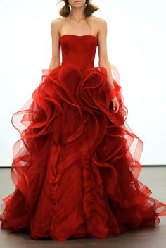 Vera Wang strapless red ruffled ball gown