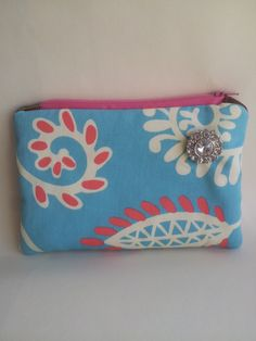 Aqua+Blue+and+Pink+Canvas+Zippered+Pouch+with+Bling+by+SewMyBliss,+$9.00