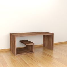 Mesa de centro modelo Bukev, acabada en ángulo recto y con estante interior. Minimalista y muy práctica. Realizada en tablero melamínico de 30 mm de grosor. Acabado color Topo Nogal