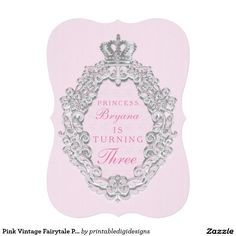 Pink Vintage Fairytale Princess Party Invitation
