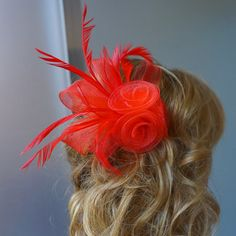 Shop for on Etsy, the place to express your creativity through the buying and selling of handmade and vintage goods. Red Fascinator, Tea Party Hats, Church Hats, Fancy Hats, Wedding Hats, Red Hats, Derby Hats, British, Trending Outfits