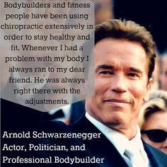 """Body builders and fitness people have been using chiropractic extensively in order to stay healthy and fit."" Arnold Schwarzenegger http://chiropractoralbuquerque-thejoint.com/introductory-offer/?utm_source=Pinterest.com"