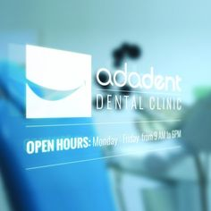 window sign with logo design for dental clinic