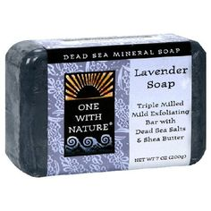 One With Nature Dead Sea Mineral Soap, Lavender, 7-Ounces (Pack of 6) by One With Nature. $32.33. Triple milled mild exfoliating bar with Dead Sea salts & shea butter. One With Nature Soaps combine genuine Dead Sea minerals - thousands of years in the making - with a pure vegetable base and moisturizing shea butter to provide a truly luxurious cleansing experience. Our soothing bath bars relax muscles, stimulate circulation and restore the skin's natural pH. Best of all, they ar...