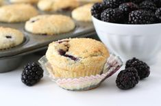 Lemon Ricotta Blackberry Muffin Recipe on twopeasandtheirpod.com These muffins are always a favorite! #muffins