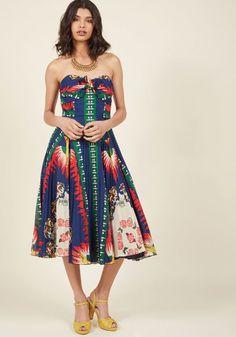 Unique New York Strapless Midi Dress