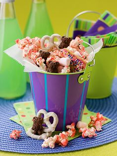 Teddy bear party mix: teddy grams...pink marshmallows...