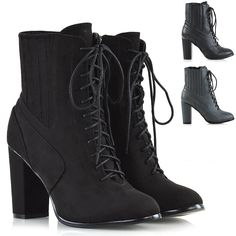 d02bc2527e71 Womens Ankle Boots Lace Up Chunky Block Heel Ladies Combat Zip Biker  Booties 3-8