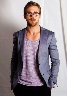 Ryan Gosling wearing Grey Blazer, White Horizontal Striped Crew-neck T-shirt, Black Chinos