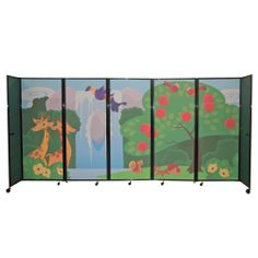 Custom-designed room divider for daycare. Design printed on acoustically-sound, fully-tackable fabric panels.