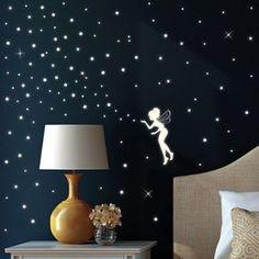 New Wandtattoo Loft Wandsticker Fluoreszierende Elfe Fee mit Leuchtsternen und Leuchtpunkten aus nachtleuchtender selbstklebender Folie