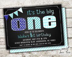 Baby Boys Blue Ombre Custom Birthday Invitation Invite - Printable Party Package - First 1st Birthday One - Chalkboard - Polka Dot Chevron